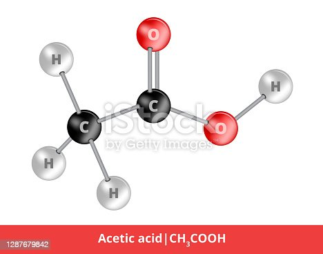 Illustration of the structural formula of acetic acid CH3COOH. The second simplest organic carboxylic acid. Its aqueous solution with a concentration of 8 % or more is called vinegar. Carbon, hydrogen, and oxygen compound. The icon of this liquid, which is suitable for education or science is isolated on a white background.