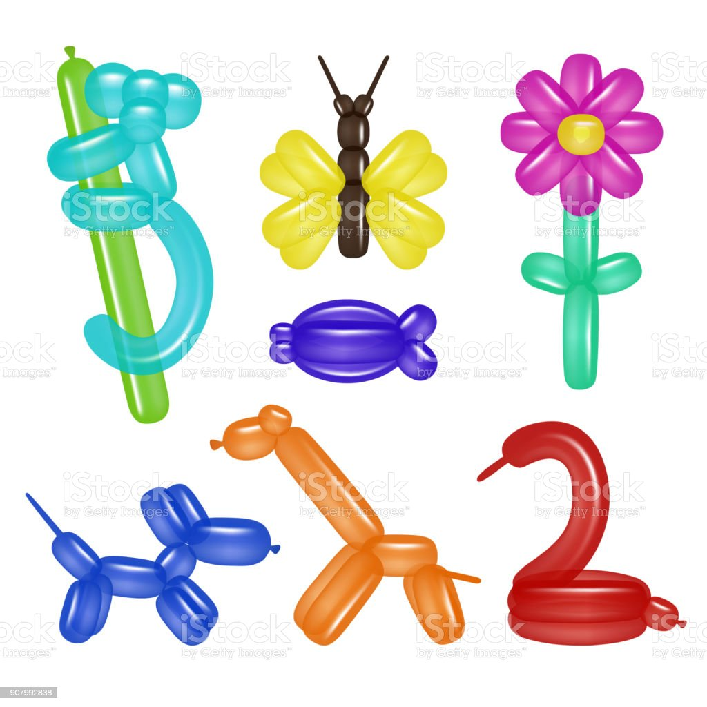 Vector balloon animals and flower set vector art illustration