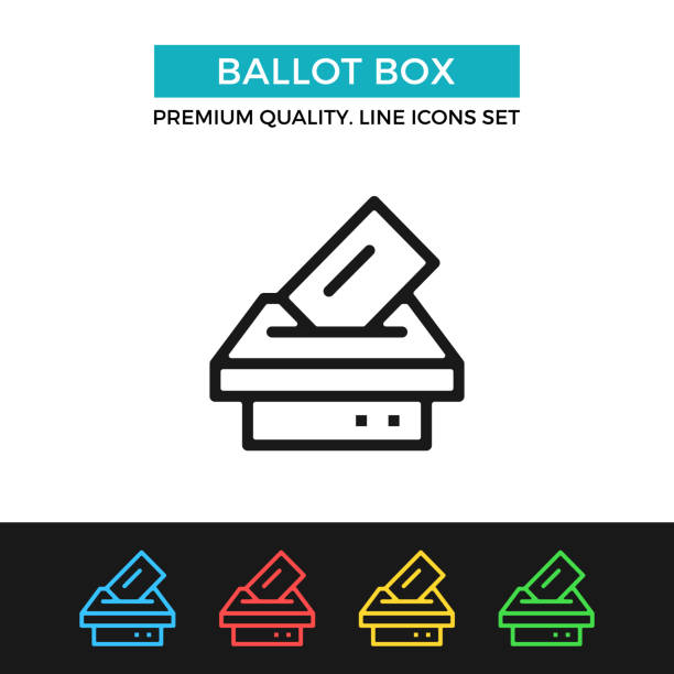 Vector ballot box icon. Voting, election concept. Premium quality graphic design. Modern linear stroke signs, pictograms, outline symbols collection, simple thin line icons set for websites, web design, mobile app vector art illustration