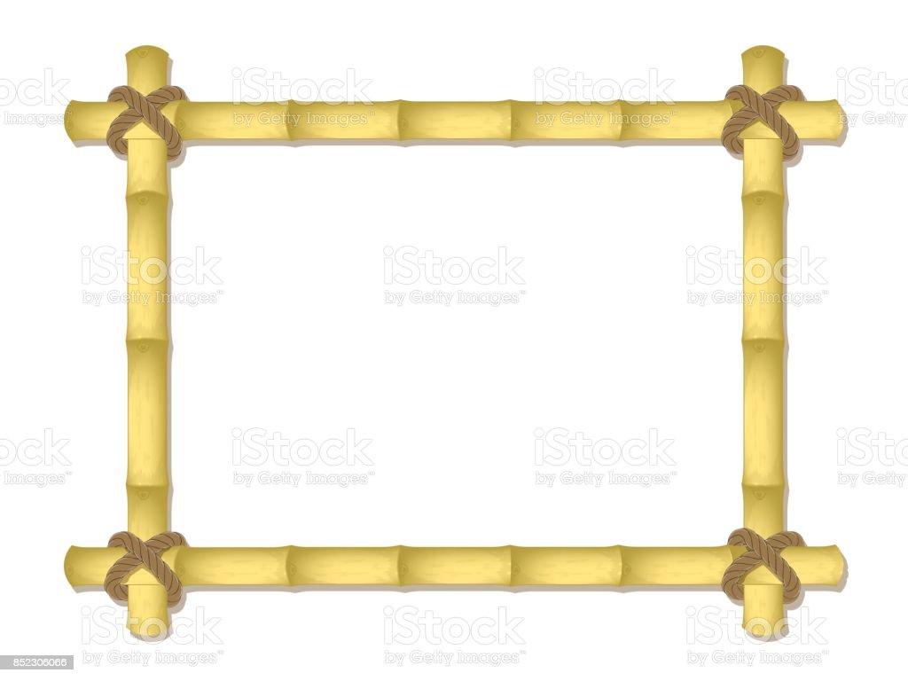 Marco De Bambú De Vectores Atado Por Una Cuerda Diseño De La Maqueta ...
