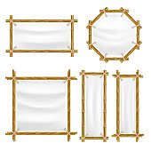 Vector bamboo frame with canvas set