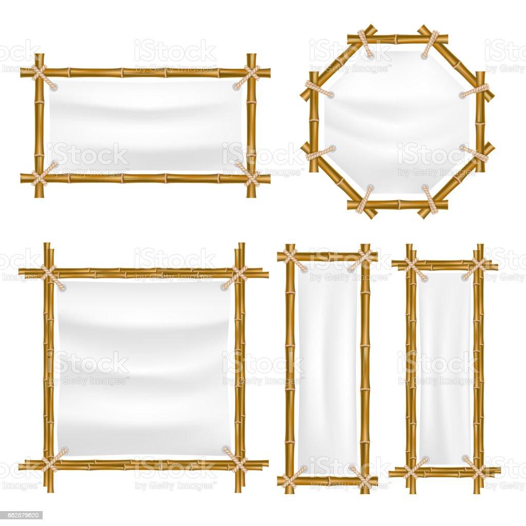 Vektor Bambusrahmen mit Leinwand – Vektorgrafik
