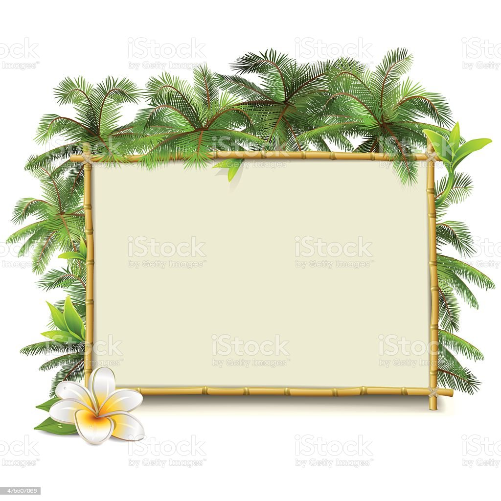 Vector Bamboo Frame with Palm vector art illustration