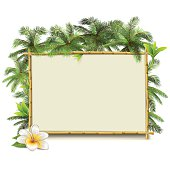 Vector Bamboo Frame with Palm