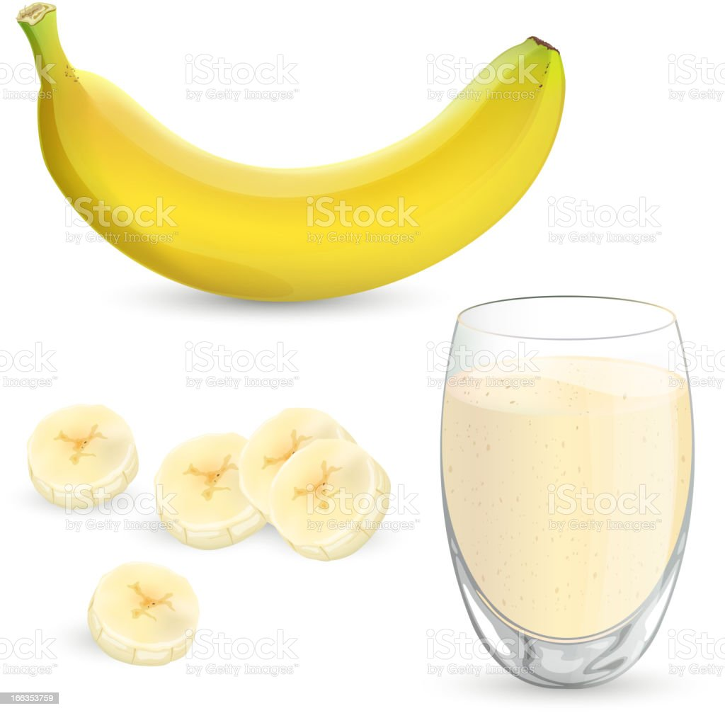 Vector banana and milkshake royalty-free stock vector art