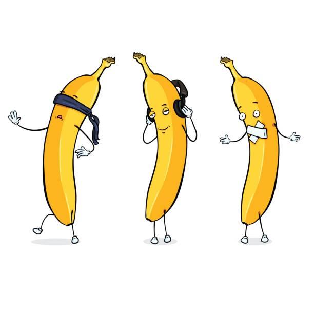 bildbanksillustrationer, clip art samt tecknat material och ikoner med vector banan karaktär - blind, döv och stum. - blindfolded headphones