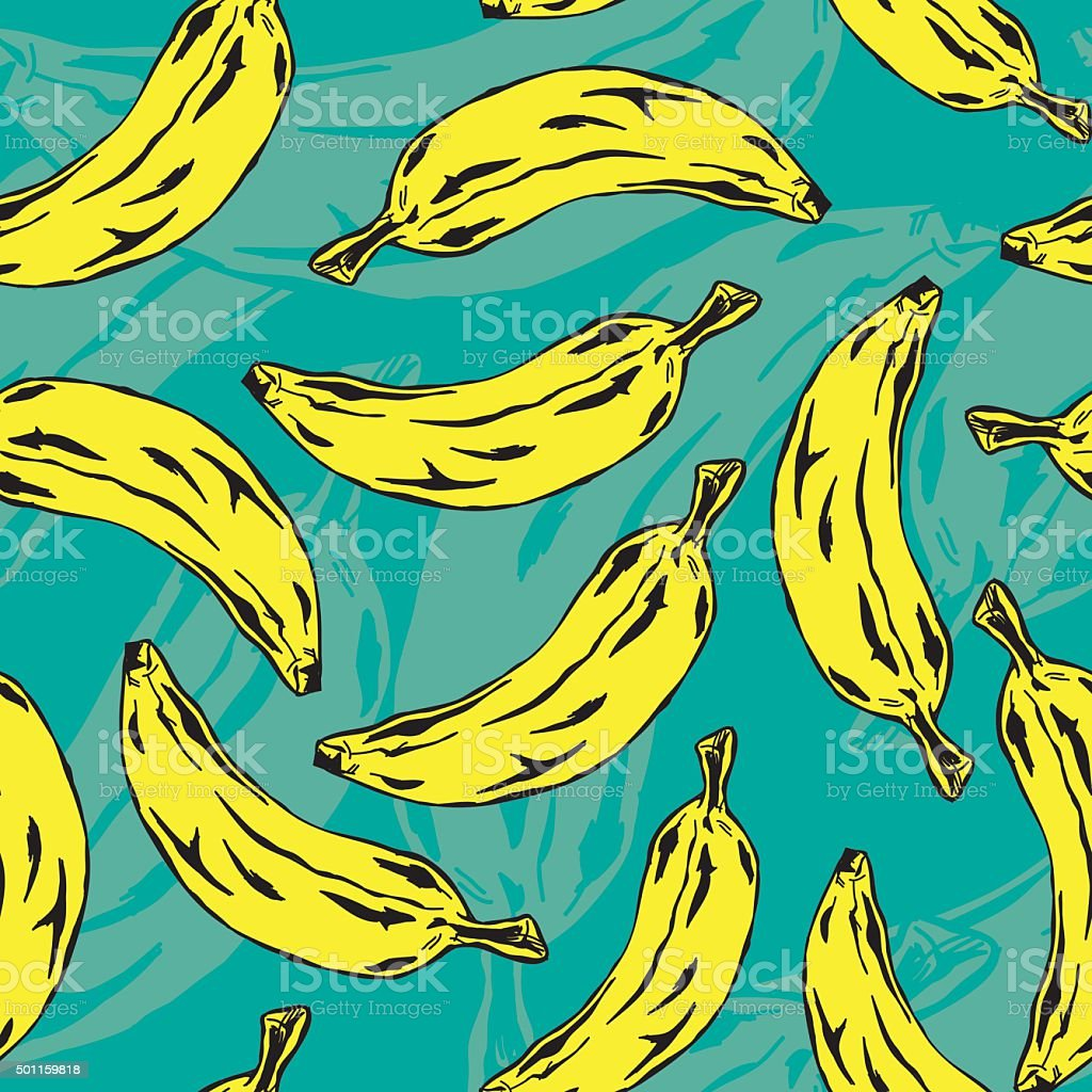Vector Banana Pop Art seamless pattern vector art illustration