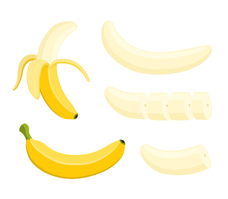 Vector banana set - whole yellow fruit, slices, peeled pieces.