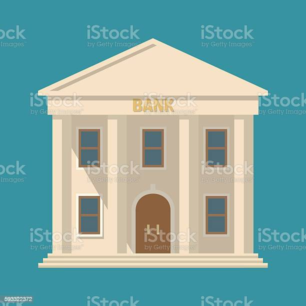 Flat detailed bank building icon. Vector illustration
