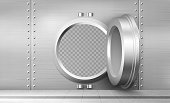 Bank vault with open safe door. Vector realistic interior of room with round steel door and and metal walls for safety storage deposits. Bank safe with dial lock
