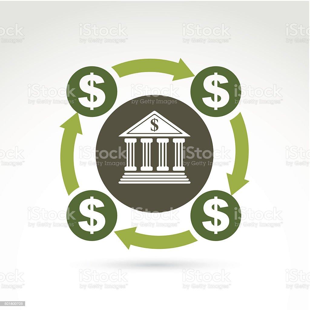 Vector banking symbol, financial system icon. Circulation of mon royalty-free stock vector art