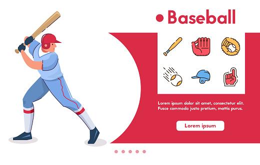 Vector banner baseball batter and linear icons set