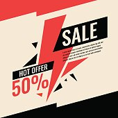 Vector banner best selling in flat design, retro style. Can be used as poster