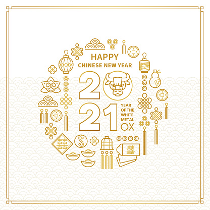Vector banner, card with a illustration of the Ox Zodiac sign, Symbol of 2021 on the Chinese calendar