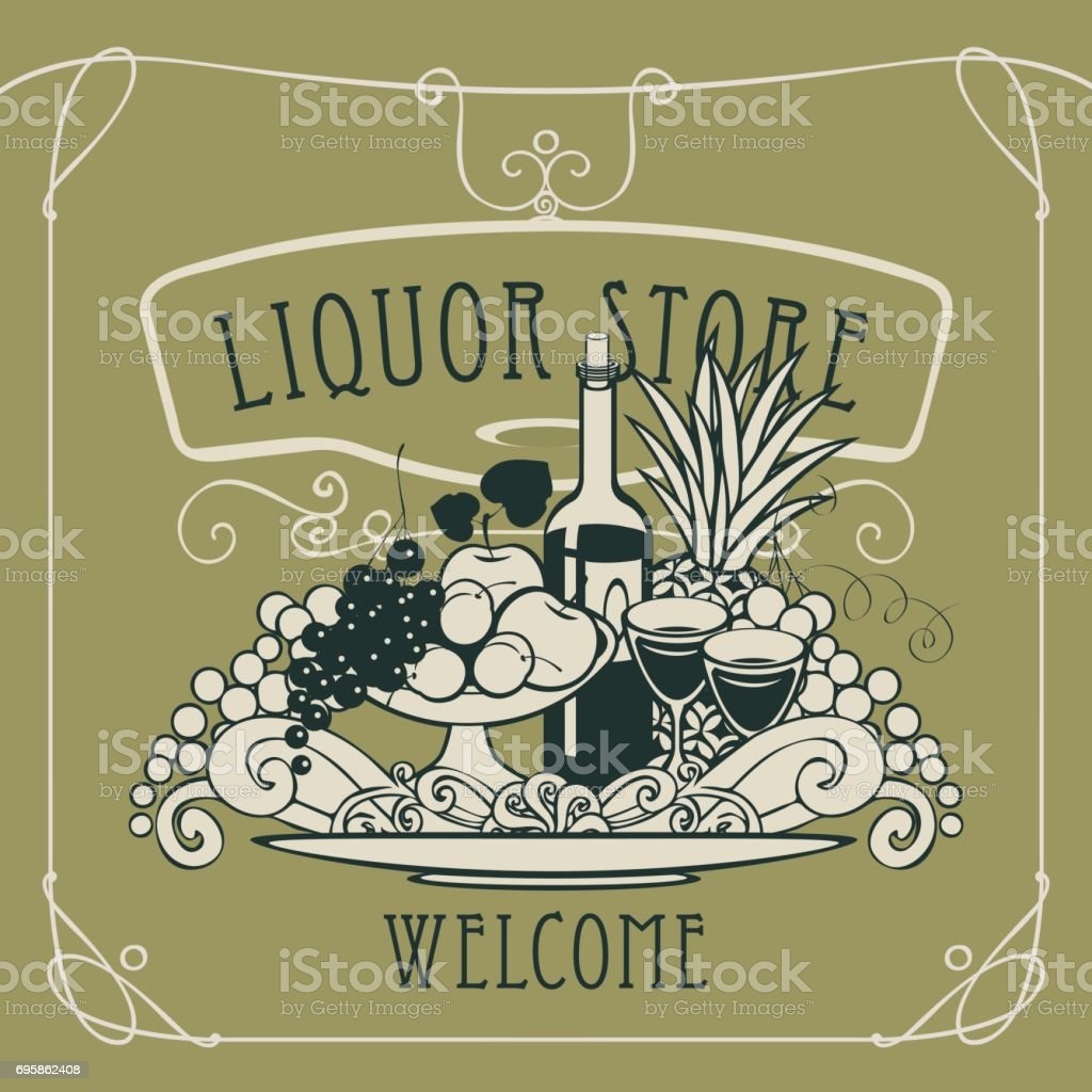 vector banner for liquor store with a still life vector art illustration