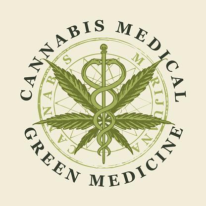 Vector banner for medical cannabis. Green medicine