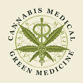 Vector banner for medical marijuana. A round emblem with a hand-drawn hemp leaf and a caduceus with two snakes. Medical cannabis. Green medicine. A natural product made from organic hemp. Smoking weed