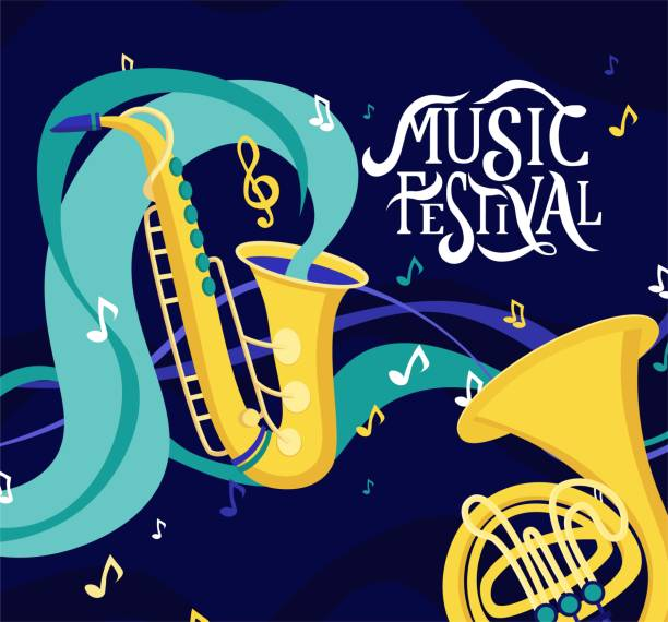 vector banner for music festival. hand lettering. jazz concert invitation, greeting card, party  layout template. performance advertising brochure. saxophone, french horn in flat style illustration. - waltornista stock illustrations
