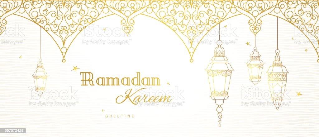 Banner de vector para Ramadán Kareem saludo. - ilustración de arte vectorial