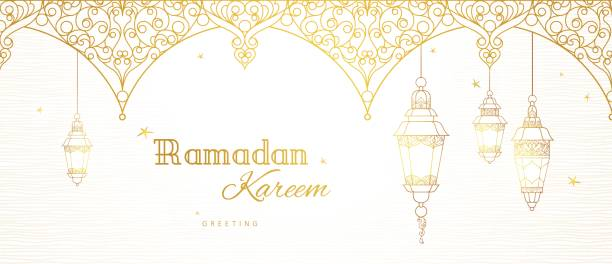 vector banner for ramadan kareem greeting. - ramadan stock illustrations, clip art, cartoons, & icons