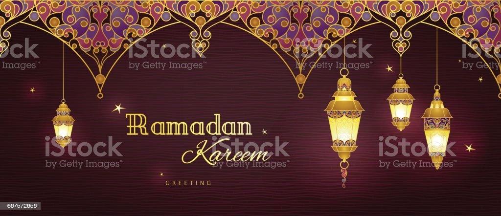 Vector banner for Ramadan Kareem greeting. vector art illustration