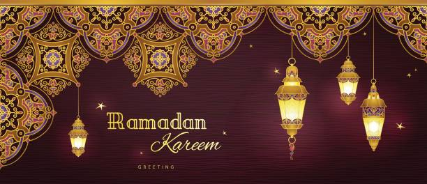 vektor-banner für ramadan kareem gruß. - ramadan kareem stock-grafiken, -clipart, -cartoons und -symbole