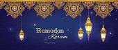 Ornate horizontal vector banner, vintage lanterns for Ramadan wishing. Arabic shining lamps. Decor in Eastern style. Islamic background. Ramadan Kareem greeting card, advertising, discount, poster.