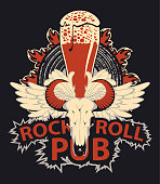 vector banner for rock and roll music pub