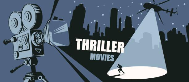 illustrazioni stock, clip art, cartoni animati e icone di tendenza di banner vettoriale per il festival film thriller - thriller