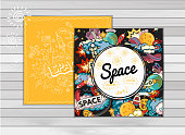 Vector banner illustration of space.