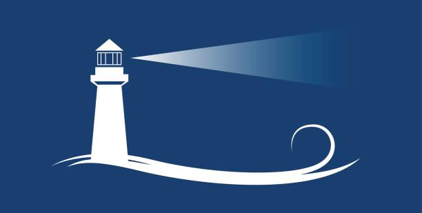 Vector banner lighthouse in blue background Vector banner lighthouse in blue background lighthouse stock illustrations