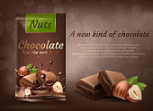 Vector promotion banner, package of milk chocolate with hazelnuts isolated on brown background. Sweet confectionery product, choco bars with whole nuts. Mockup for package design and brand advertising