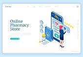 istock Vector banner of online pharmacy store 1289068716