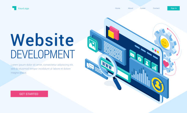 vektorbanner der website-entwicklung - tablet mit displayinhalt stock-grafiken, -clipart, -cartoons und -symbole