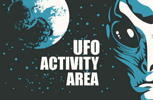 Vector banner on the theme of alien invasion