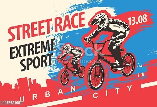 Vector banner or flyer with cyclists on the bikes and words Street race, Extreme sport on the urban background. Poster for street race, bicycle club, extreme sports in modern style