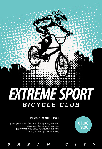 vector banner on the theme of extreme Cycling