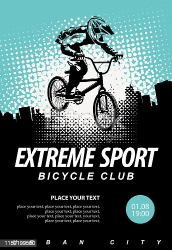 Vector banner or flyer with cyclist on the bike and words Extreme sport on the urban background. Poster for bicycle club, extreme sports with place for text