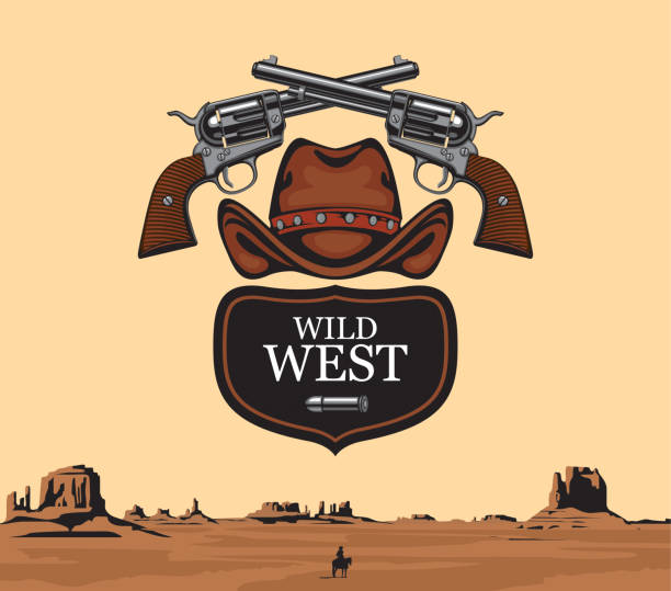 Vector banner on the theme of the Wild West Vector banner with two old crossed revolvers, bullet and cowboy hat with words Wild west on the background of western landscape with a silhouette of a cowboy on a horse. A lone rider in the desert gun shop stock illustrations