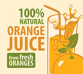 Vector banner or label for natural orange juice from fresh oranges in retro style. Illustration with inscriptions, a glass with a straw and an orange on a light background