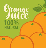 Vector banner or label for orange juice in retro style. Illustration for natural product with inscription and oranges on green background