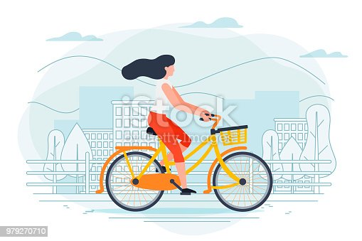 Vector banner template with girl on a bike. City, trees and hills on a blue background.