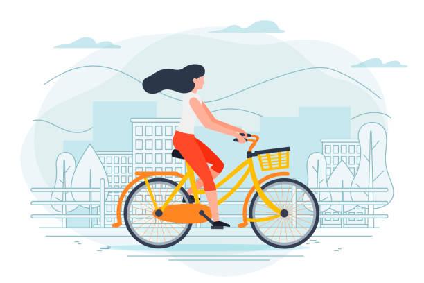 ilustraciones, imágenes clip art, dibujos animados e iconos de stock de plantilla de vector banner con chica en una moto. - andar en bicicleta