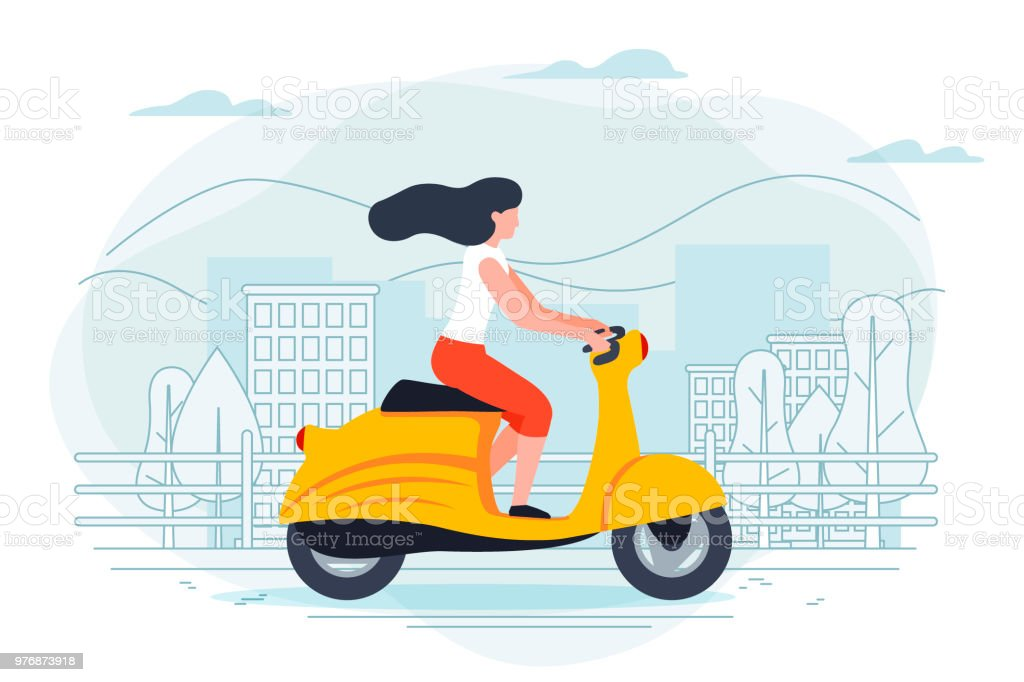 Vector banner template with girl on a motorbike. vector art illustration