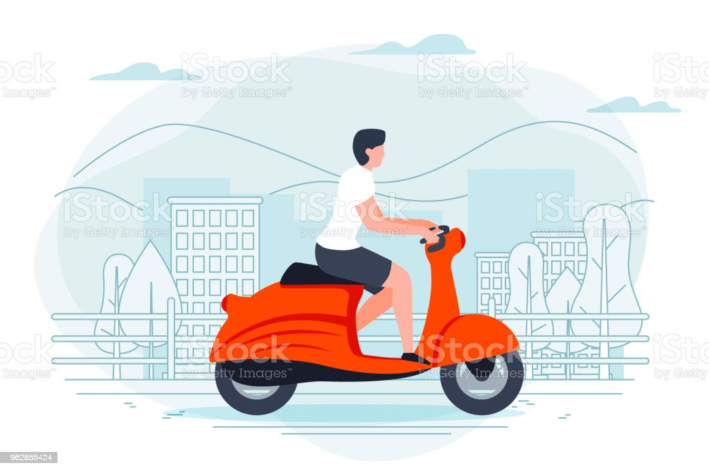 Vector banner template with man on a motorbike. vector art illustration