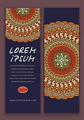 Vector banner templates with abstract ethnic patterns. Double-sided flyer, card, invitation with mandala ornament