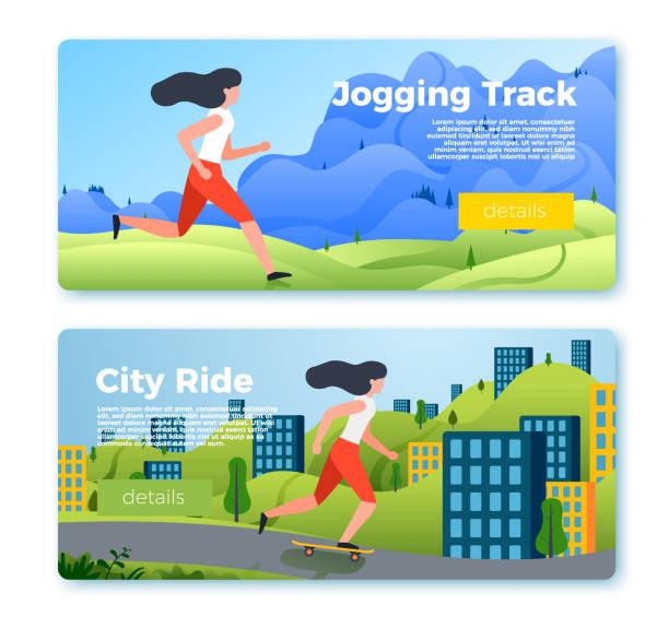 ilustrações de stock, clip art, desenhos animados e ícones de vector banner templates with riding, running girl - young woman running city