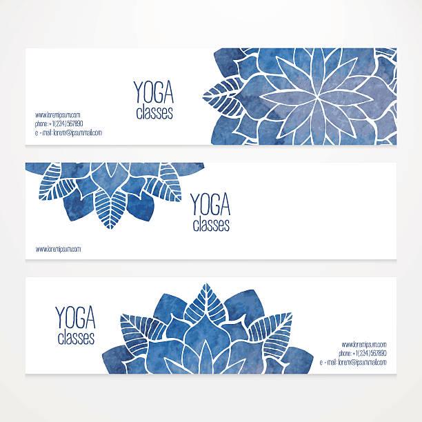 Vektor-banner-Vorlagen mit Aquarell abstrakt Blumen – Vektorgrafik