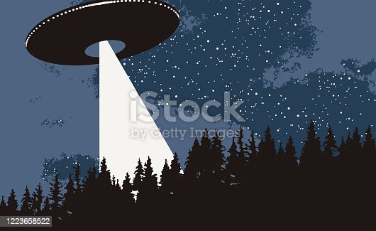 Vector banner on the theme of alien invasion. Realistic illustration of an UFO flying over the forest. Earth landscape and a flying saucer with bright ray in the night sky