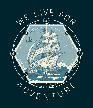 vector banner with a sailboat on the sea waves